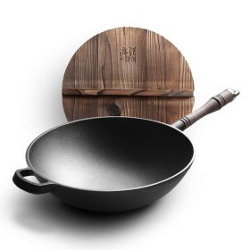 EDGING RY-60672 Chinese Traditional Black Walnut Handled Cast-iron 30CM Healthy Stir-fry Pan/Wok (PFOA free)