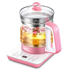 SKG 8056 Multi-Functional 1.5 Liter Intelligent High Borosilicate Glass herb Tea Kettle (Pink)