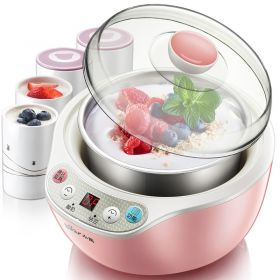 Bear SNJ-B10N2 1L Smart 304 Stainless Steel Insert Yogurt Maker with 4 Ceramic Jars (Pink)