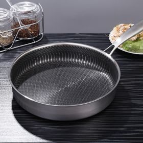 German 28CM/30CM 7-ply Clad 304 Surgical Stainless Steel Non-Stick Honey Comb texture Plated Fry Pan with Glass Lid