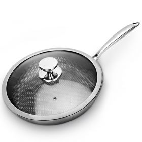 28CM/30CM 7-ply clad Stainless Steel Nonstick Full Honey Comb structure Plated Fry Pan with Lid