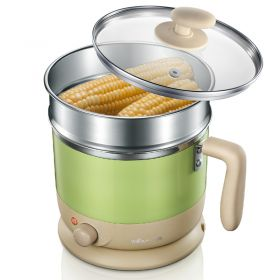 Bear DRG-C1203 Multi-functional 1 Liter Stainless Steel Electric Cooker / Hot Pot with Glass Lid and Steam Rack