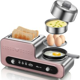 Bear DSL-A02Y2 Stainless Steel Breakfast Station Egg Steamer, Toaster Oven and Skillet