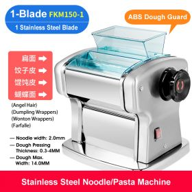HM FKM150-1 Electric Single-Blade Pasta Maker/Noodle Machine, Stainless Steel electric Noodle Press Machine, Semi-automatic Spaghetti Pasta Maker, Stainless Steel Dough Cutter, Dumplings Roller, 9 Speed Adjustable Thickness Setting
