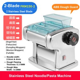 HM FKM150-2 Electric Dual-Blade Pasta Maker/Noodle Machine, Stainless Steel electric Noodle Press Machine, Semi-automatic Spaghetti Pasta Maker, Stainless Steel Dough Cutter, Dumplings Roller, 9 Speed Adjustable Thickness Setting