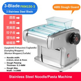 HM FKM150-3 Electric 3-Blade Pasta Maker/Noodle Machine, Stainless Steel electric Noodle Press Machine, Semi-automatic Spaghetti Pasta Maker, Stainless Steel Dough Cutter, Dumplings Roller, 9 Speed Adjustable Thickness Setting
