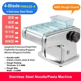 HM FKM150-4 Electric 4-Blade Pasta Maker/Noodle Machine, Stainless Steel electric Noodle Press Machine, Semi-automatic Spaghetti Pasta Maker, Stainless Steel Dough Cutter, Dumplings Roller, 9 Speed Adjustable Thickness Setting