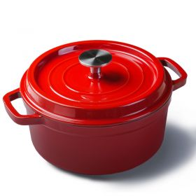 HM FL22 Enameled Cast Iron Round Dutch Oven with Dual Handle and Lid, Hard-Anodized Non-Stick Round Casserole Dish, For all Heat Source & Induction cooker, Oven safe