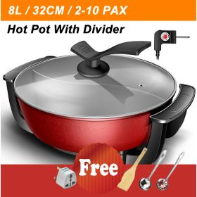 HM CD-G09 32CM Large Multi-functional Non-stick Electric Steamboat / Hot Pot with Divider, Shabu Shabu Steamboat, Ying-Yang Hot Pot with Heat Control Unit