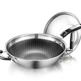 HUAGESHI HGS-01 7-ply clad Stainless Steel / Nano titanium Nonstick Honey Comb Plated 32cm Stir Fry Pan / Wok