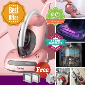 Midea B3 Anti Dust Mites Sunlight-imitated UV Vacuum Cleaner with, Power Rolling Brush, Advanced HEPA Filtration and 4400RPM Powerful Suctions Eliminates Mites, Bed Bugs and Allergens for Mattresses, Pillows, Cloth Sofas, and Carpets, Pink