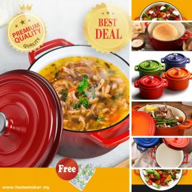 HM POF28 Enameled Cast Iron Dutch Oven Pot with Lid, Round Covered Casserole, Bread Baking Pot, All-round for Preparing Low and Slow Cooking Meals, (Suitable For all Heat Source & Induction cooker, Oven safe)