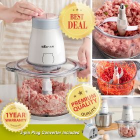 Bear QSJ-B02Q1 2-speed 2L Glass Food Processor Multipurpose Food Chopper, Blender and Mincer