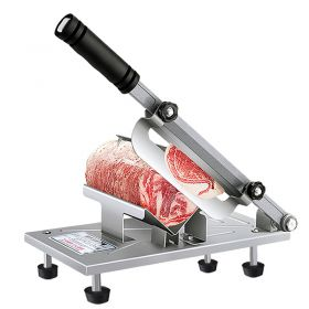 HM QPJ-02 Manual Frozen Meat Slicer, Stainless Steel Meat Cutter Beef Mutton Roll Meat Food Slicer Slicing Machine for Home Cooking Kit of Hot Pot Shabu Shabu