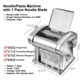 HM JCD-BIM568-1 Single-Blade Electric Noodle/Pasta Maker, Electric Noodle Press Machine, Spaghetti Pasta Maker, Stainless Steel Dough Cutter, Dumplings Roller, 6 Speed Adjustable Thickness Setting