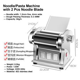 HM JCD-BIM568-2 Dual-Blade Electric Noodle/Pasta Maker, Electric Noodle Press Machine, Spaghetti Pasta Maker, Stainless Steel Dough Cutter, Dumplings Roller, 6 Speed Adjustable Thickness Setting