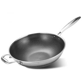 ORY 34CM High-end 7-ply clad 18/10 Surgical Stainless Steel Nonstick Full Honey Comb structure Plated Stir-Fry Pan, Scratch-Resistant Wok with Glass Lid