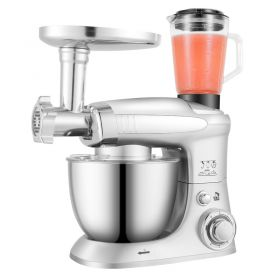 Stelang SC-232C 1000W 4 Liter Chef Gourmet 6-Speed Stand Mixer (Silver) with Power Hub Attachment Capability (Dough Hooks, Whisk, Beater, Meat Grinder, Blender Bundled)