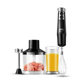 SKG 1293 Smart 300W Multi-Speed Immersion Hand Blender Set Includes BPA-Free Food Chopper / Egg Beater / Beaker, 304 Stainless Steel Blade, Slip-proof Ergonomic Grip Detachable, Comfortable Silicone Button