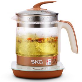 SKG 8056 Multi-Functional 1.5 Liter Intelligent High Borosilicate Glass herb Tea Kettle (Brown)