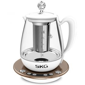 SKG 8069 Korean Design 1.8 Liter Intelligent High Borosilicate Glass herb Tea Kettle with Stainless Steel Infuser