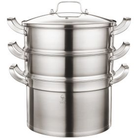 SSGP 02491/02492 28CM Stainless Steel Multi-Tier/Layer Steamer Cooking Pot, Rice Cooker, Double Boiler, Stack, Steam Soup Pot and Steamer (2-Tier and 3-Tier Available)