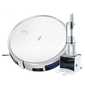 Haier TAB-TT50SSC Wi-Fi Artificial Intelligent (AI) Navigation & Route Planning Robot Vacuum Cleaner, 2150PA Strong Suction, with All-round Cordless Handheld Vacuum and Detachable Water Tank