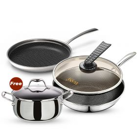 ZuanJ ZJ-B3P30 Korean 18/10 Surgical Stainless Steel Nonstick Honey Comb Plated Cookware (3-piece Set)